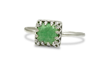 Jewelry 925 for Women - Square Aventurine in Sterling Silver - Vintage Rings for Fashion, Anniversary, Birthday, Graduation Gifts for Her