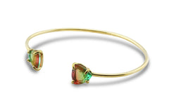 Custom Watermelon Tourmaline in 14k Gold Bracelet - Custom Gemstone Bracelet - Cuff Bracelet for Statement Jewelry, Layering, Gift Ideas for Women
