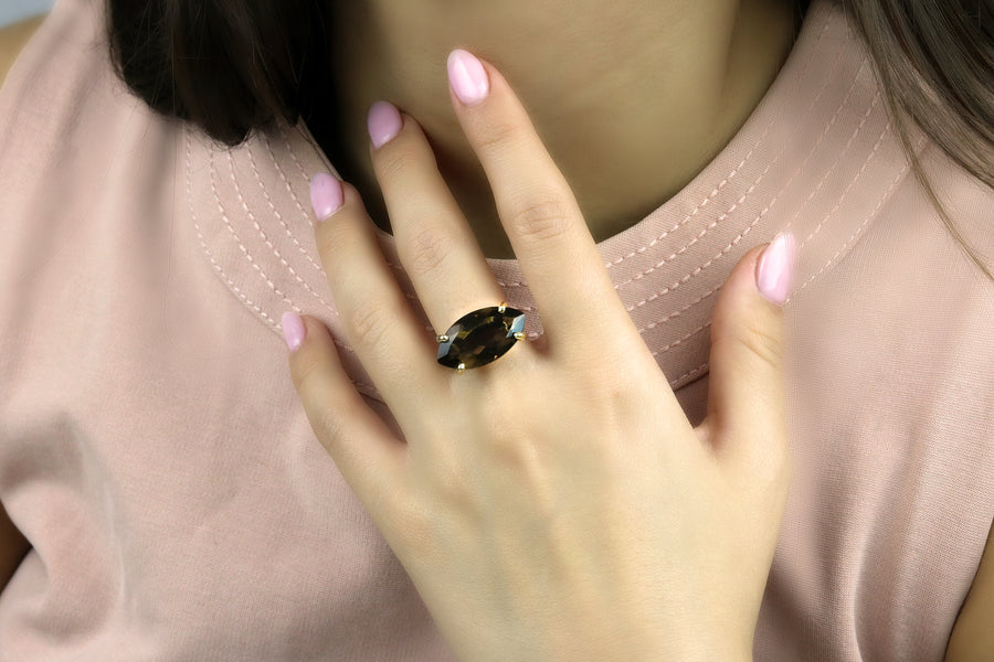 Artisan 14k Gold Large Smoky Quartz Marquise Ring