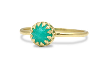 Gold and 925 Rings - Amazonite Ring in 14k Gold - Artisan Rings Jewelry for Celebration and Everyday Fashion