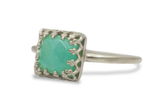 Gemstone Rings for Women - Amazonite Handmade Jewelry Ring in 14k Gold - Gift and Fashion 14k Rings for Women - Everyday Jewelry