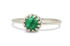 Delicate Malachite Ring - Handmade Gem Rings for Women, Gift Rings, Stacking Rings, Everyday Fashion Rings