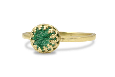 Gold Jewelry for Women - Agate Emerald Ring in 14k Gold - Handmade Stone Rings for Celebrations and Everyday Fashion