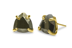 Stone Earrings for Women - Triangle Pyrite Silver Earrings for Women - Artisan Gem Earrings for Special Events and Daily Wear