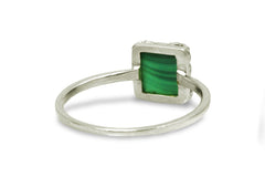 Malachite Ring - Petite Silver Jewelry for Women - Handmade 925 Sterling Silver Anniversary Ring, Everyday Ring, Promise Rings for Her, Gift Rings