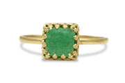 Square Jade Ring in 14k Gold - Handmade Rings Jewelry for Mom, Sister, Best Friend, Wife, Partner - Statement and Stackable Rings for Women