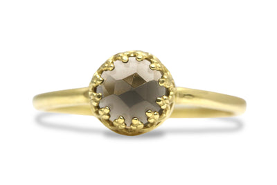 14k Gold Rings for Women - Petite Round Smoky Quartz Ring with 14k Gold Filled Band - Artisan Gem Rings for Women, Everyday Jewelry, Gift Ring for Any Occasion