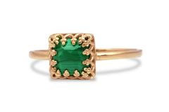 Thin Rings for Women - Malachite Ring in 14k Rose Gold - Stacking Rings for Women, Jewelry Ring for Collection and Gifts