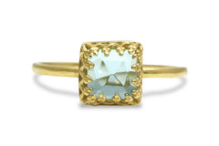 Birthstone Rings - Square Blue Topaz in 14k Gold - Simple Rings for Everyday Fashion - Handmade Topaz Rings for Women