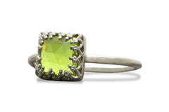 Birthstone Rings - Peridot Rings for Women in 14k Gold - Artisan August Birthstone Jewelry, Anniversary Ring, Everyday Fashion Jewelry