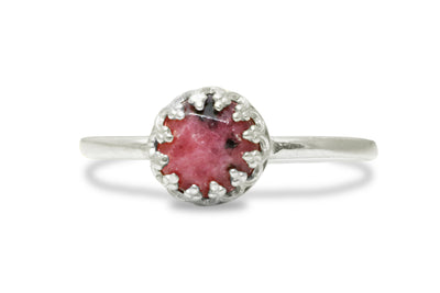 Silver Rings for Women - Rhodonite Ring in 925 Silver - Fine Jewelry for Mom, Sister,  Bff, Girlfriend - Handmade Jewelry