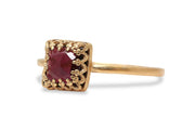 14k Gold Garnet Ring - Fine Jewelry for Women - Everyday Red Jewelry for Women - Petite Ring for Mom, Sister, Best Friend, Wife