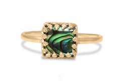 Abalone Ring in Petite Band - Sophisticated 925 for Women, Handmade Birthday, Bridesmaid, Anniversary Gifts for Her