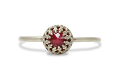 July Birthstone Rings - Ruby Ring in 14k Gold - Handmade Simple Rings for Everyday Wear, Artisan Gift Jewelry
