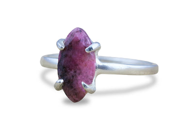 Stone Jewelry for Women - Rhodonite Marquise Ring in Sterling Silver - Fashion Jewelry, Gift Jewelry, and Everyday Jewelry