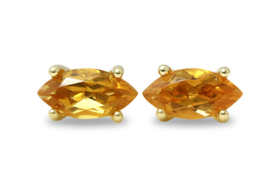 Marquise Citrine Earrings - Artisan 14k Gold Stud Earrings - Fine Jewelry for Any Occasion - Handmade Jewelry