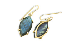 Labradorite Earrings in Sterling Silver - Marquise Stone Dangling Earrings for Women - Formal, Casual, Celebration, Bohemian Earrings