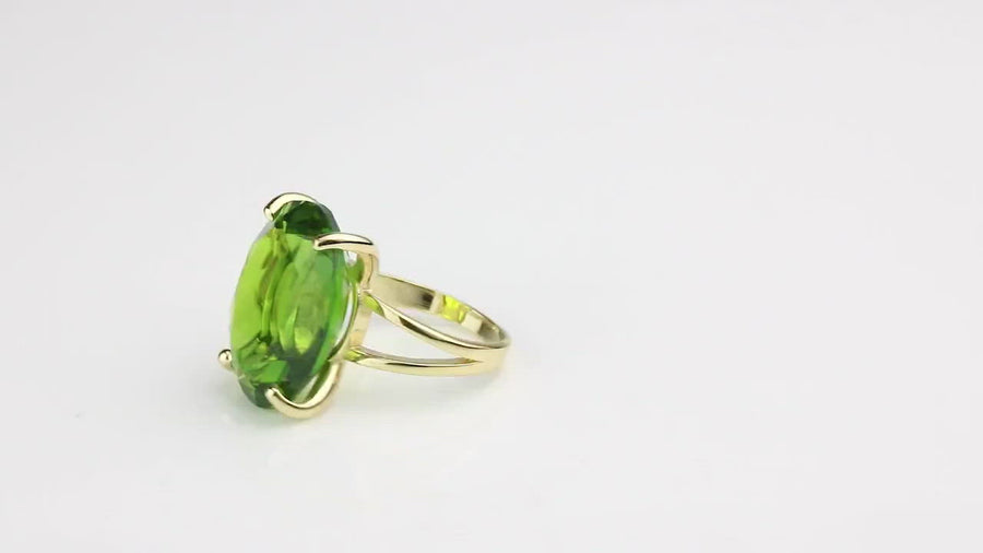 Natural Peridot Stone Ring in 14k Gold Filled