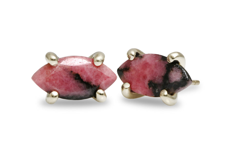 Rhodonite Stone Earrings in 14k Gold - Artisan Stud Earrings for Women - Handmade Jewelry for Women - Gifts and Collection