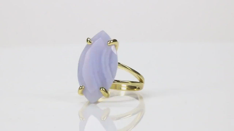 Marquise Lace Agate Ring in 14k Rose Gold