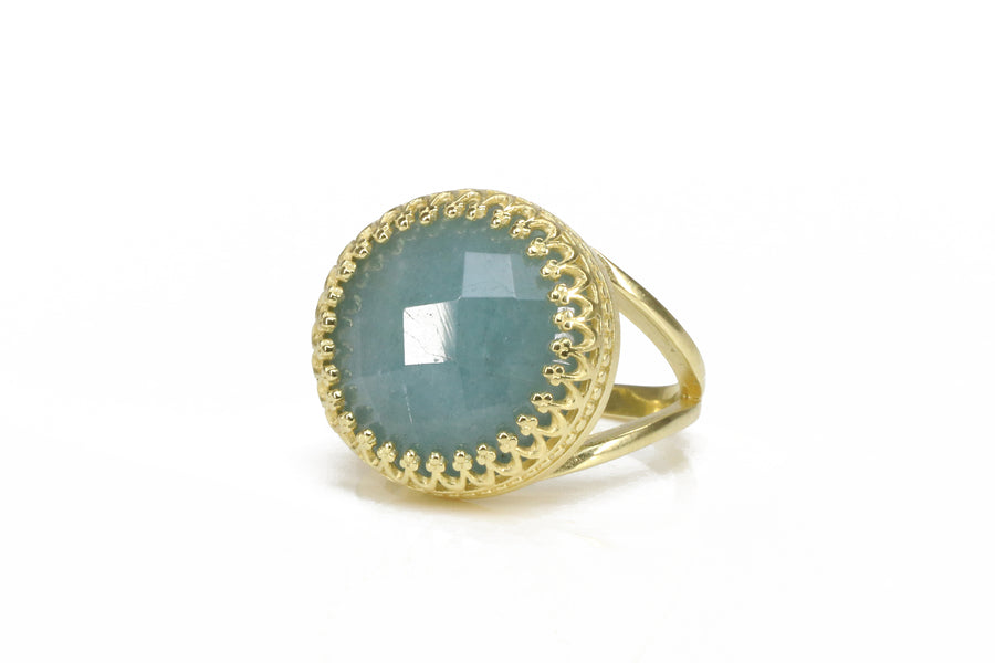 Intricate Aquamarine Ring with 14k Gold-filled Ring Band - Classy Aquamarine Jewelry for Women - Handmade - March Birthstone Jewelry for Any Occasion