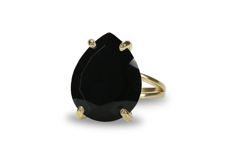 14CT Black Onyx Ring - Elegant 14K Gold Statement Ring for Ladies - Jewellery for Special Occasions and Daily Use - Handmade