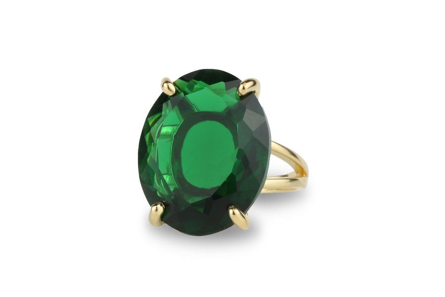 Faceted Natural Oval Emerald Gemstone Ring
