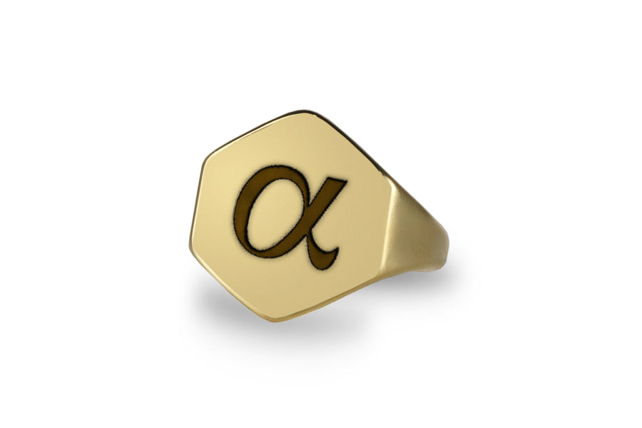 Stylish Gold Signet Ring in 14k Gold