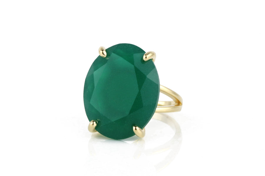 Classy Cocktail Rings for Women - Oval Green Onyx in 14k Gold - Faceted Onyx Rings for Women - Ring for Parties and Everyday Wear - Handmade