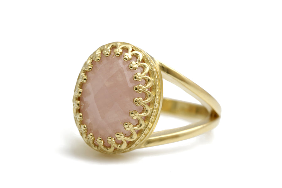 Dainty Rose Quartz Ring in 14k Gold-filled Band - Classy Handmade 14k Engagement Ring, Birthday Ring, BFF Jewelry for Women - Crafted by Skilled Jewelers