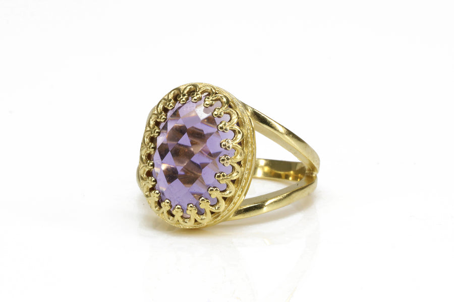 Beauteous Amethyst Ring in 14k Gold-filled Double Band