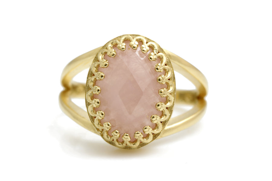 Gorgeous 10CT Rose Quartz Ring with 14K Rose Gold-filled Band - Timeless Ring Jewelry for Birthdays, Anniversaries and Other Occasions - Handmade Quartz Ring