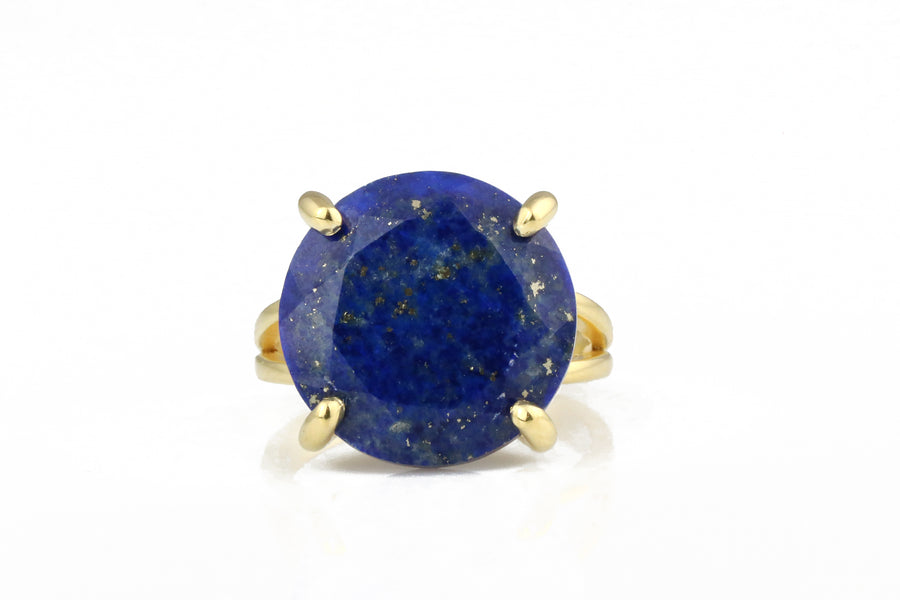 14k Gold Blue Rings for Women - 14CT Lapis Lazuli in Double Ring Band Sizes 3-12.5 Available - Round September Birthstone Ring