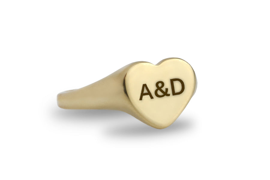 Handcrafted Custom Engraved Heart Gold Ring for Women