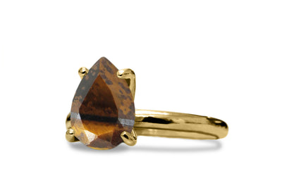 Exquisite 14k Gold Jewelry - Tiger Eye in 14k Gold-filled Double Band Setting - Artisan-made Gem Rings for Women