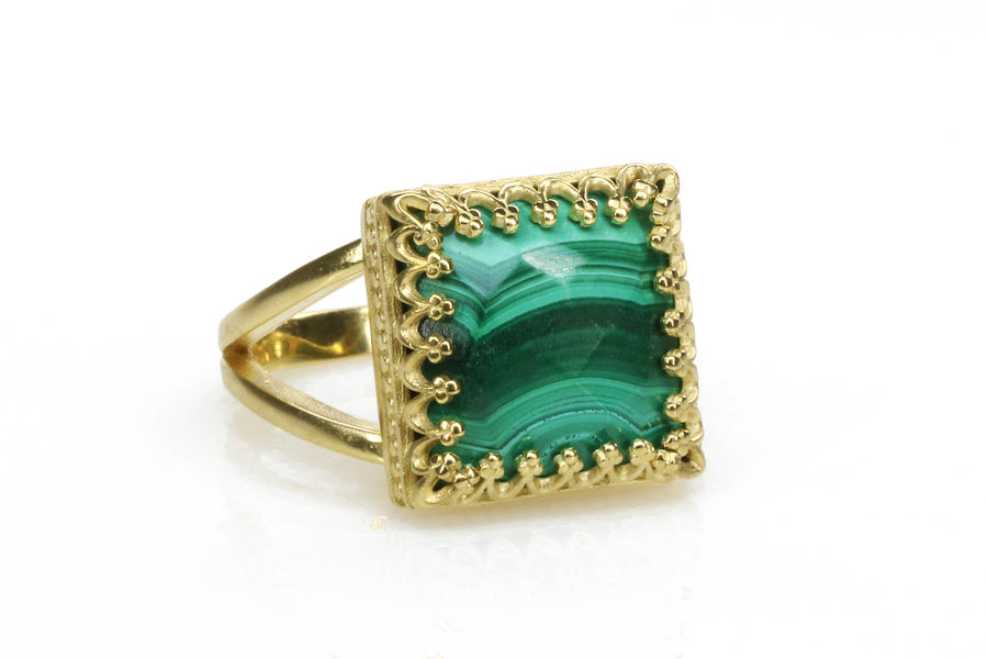Stunning Marbled Malachite Ring in 14k Gold-filled Band