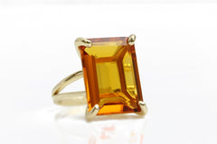 14K Statement Citrine Gold Ring - Beautiful AA Rectangle Citrine Ring for Special Occasions - Make a Statement Through this Wow Ring - Handmade