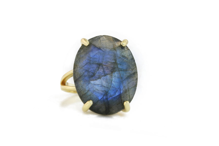 Exquisite Oval Rings for Women - 14k Gold-filled Labradorite Ring - Jewelry Ring Made by Skilled Artisans - Engraving Available