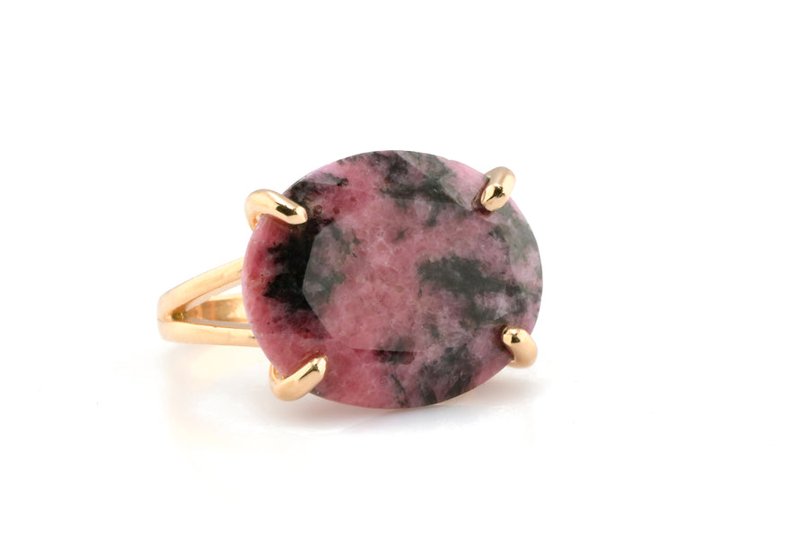 Oval Rhodonite Gemstone Prong Set Gold Filled Ring