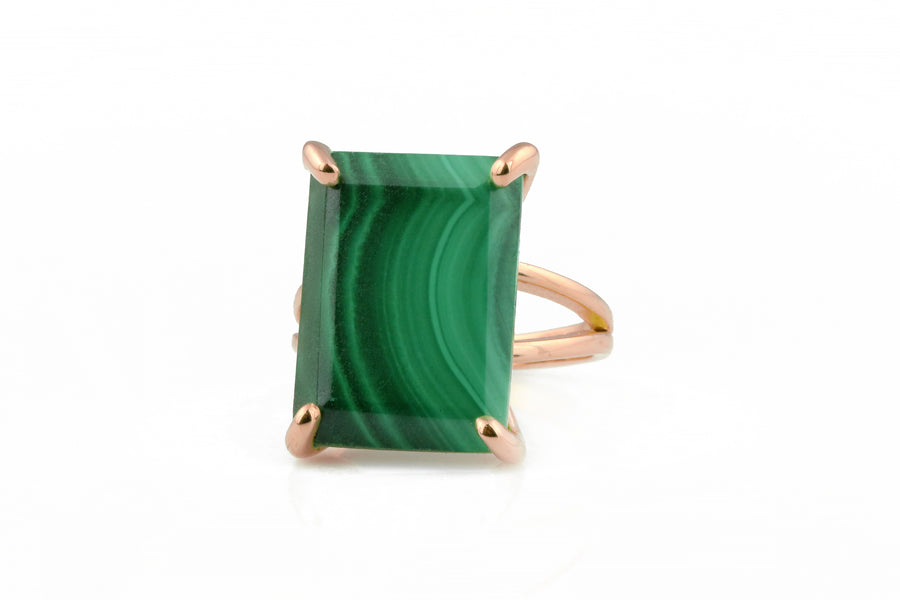 Malachite Crystal Statement Rectangle Ring