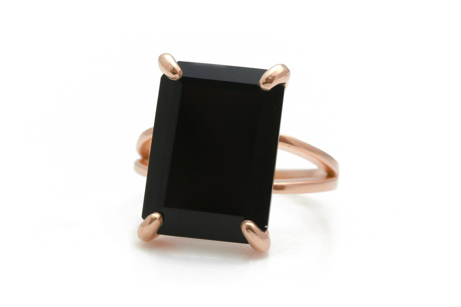 Black Rings for Women - Sleek Black Onyx Ring with 14k Gold-filled Band - Gold Rings for Women with Versatile Style - Handmade