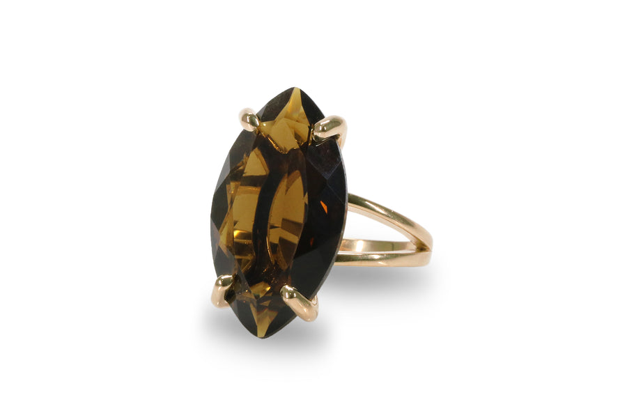 Stunning Statement Ring - Marquise Smoky Quartz in 925 Sterling Silver Double Band Sizes 3-12.5 - Sophisticated Silver Rings for Women - Engraving Available