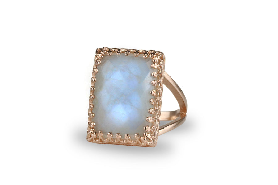 Large Lace 14K Rose Gold Moonstone Ring - Stylish Statement Gemstone Ring Useful During Weddings, Cocktails, Birthdays, and Engagement - All Sizes Available