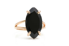 Classy Black Onyx Rings for Women - 14K Gold Black Onyx Cocktail Ring - Handcrafted Fine Jewelry - Versatile Fashion Jewelry for Women