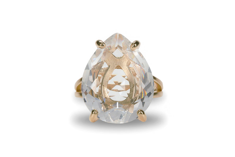 Fine 14k Rose Gold Ring with Crystal Quartz - Artisan-made Women Rings for All Occasions and Everyday Wear