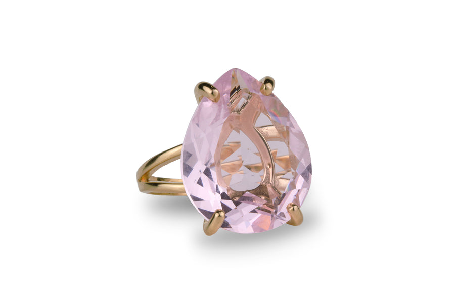 Charming Rose Quartz Ring in 14K Gold - Pink Jewelry for Gifts and Personal Wear - Prom, Birthday, Love Jewelry