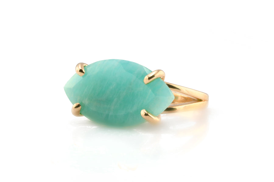 14k Yellow Gold Marquise Amazonite Stone Ring