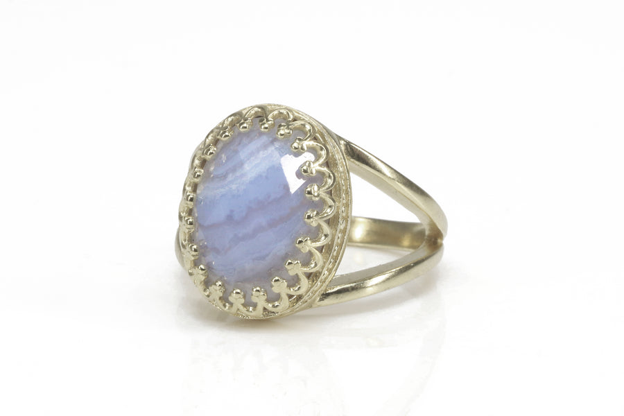 Feminine Lace Agate Ring in 14k Gold-filled Double Band