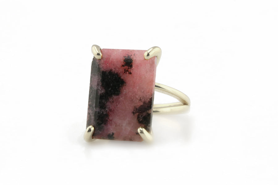 Prong Rhodonite Ring - Beautiful Rectangle Gold Ring with Powerful Effect - Gorgeous Gemstone Representing Love Made by Creative Artisans - Handmade
