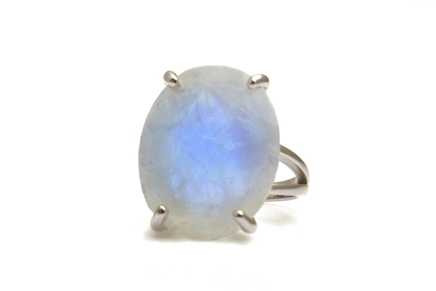 14K Gold Filled Ring - Stunning 16x20mm Oval-Shaped Moonstone Ring Handcrafted to Boost Feminine Energy - Handmade